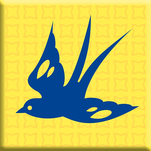 Free Bird Yellow - Blue Left  (Single Tile)
