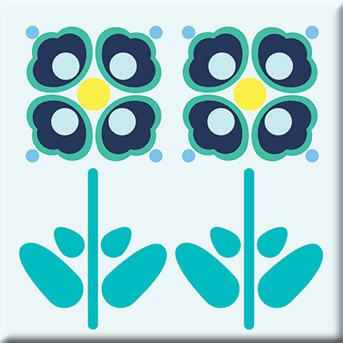 Pressed Flowers - Teal (Single Tile)