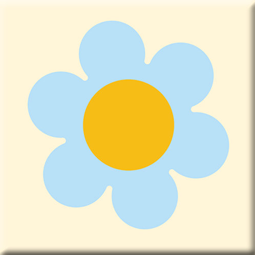 Daisy - Light Blue / Yellow (Single Tile)