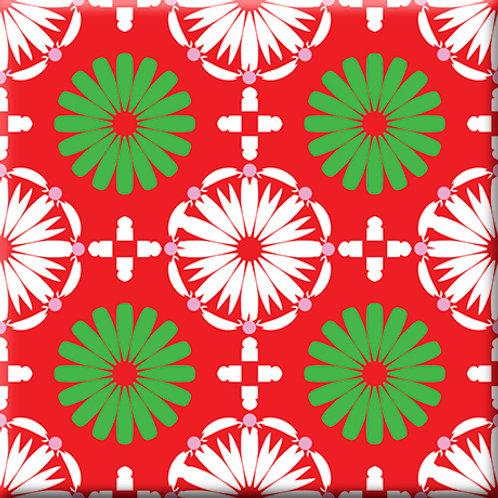 Kaleidoscope - White / Green / Red (Single Tile)