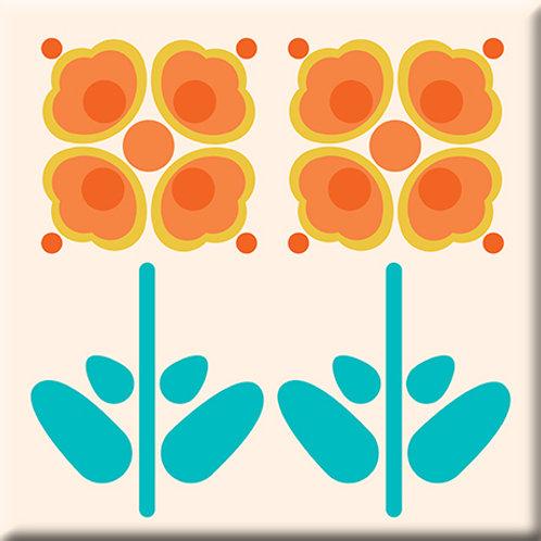 Pressed Flowers - Orange (Single Tile)