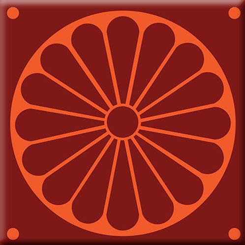 Citrus Plate - Burgundy / Orange (Single Tile)