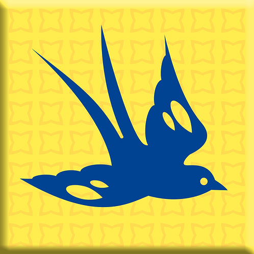 Free Bird Yellow - Blue Right (Single Tile)