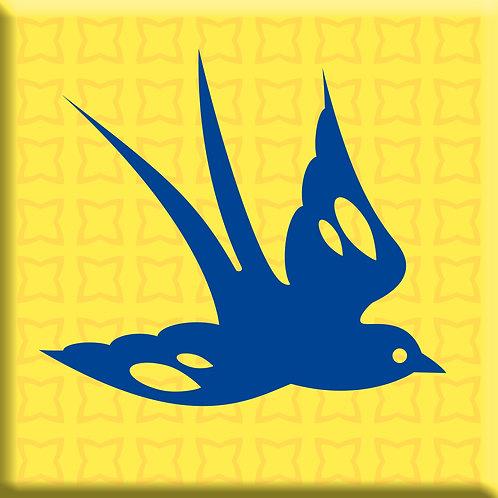 Free Bird Yellow - Blue Right (Single Tile)