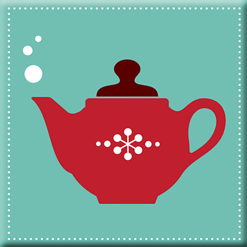 Spot of Tea - Teal / Red (Single Tile)