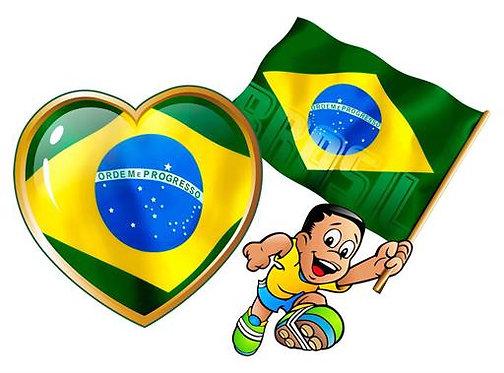 Kit Coração e Menino c/Bandeira c/ 02