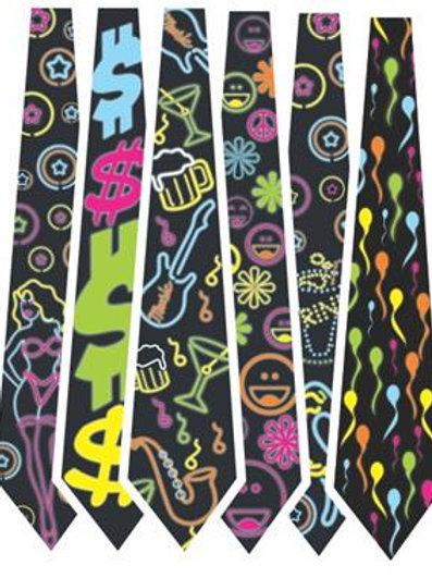 Gravata Neon c/ 10  Brilha na luz negra