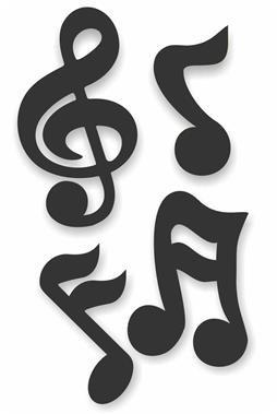 Kit Notas Musicais c/ 04 Preta