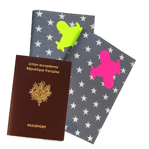 Passport Cover GREY & WHITE STARS