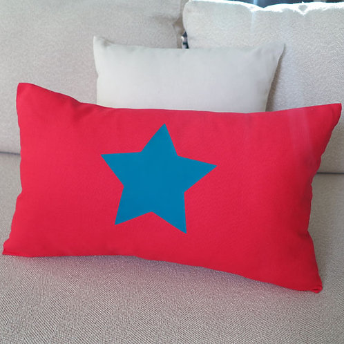 Red & Teal STAR Cushion