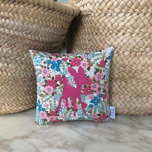 Pink Flowers & Fawn Mini Cushion