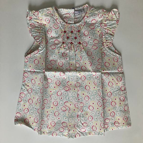 Silver Cotton smocked Blouse 2Y