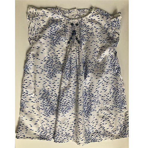 Blue fishes Cotton Smocked Blouse12Y