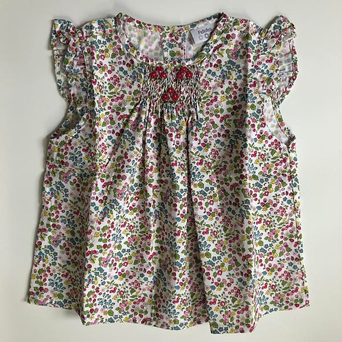 Spring flowers Cotton Smocked Blouse 1Y