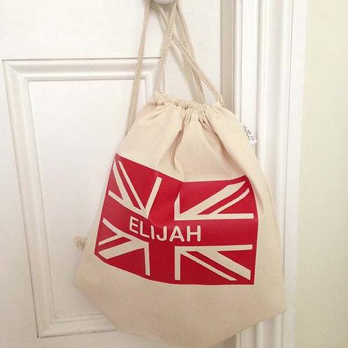 Personalised UNION JACK Drawstring Bag