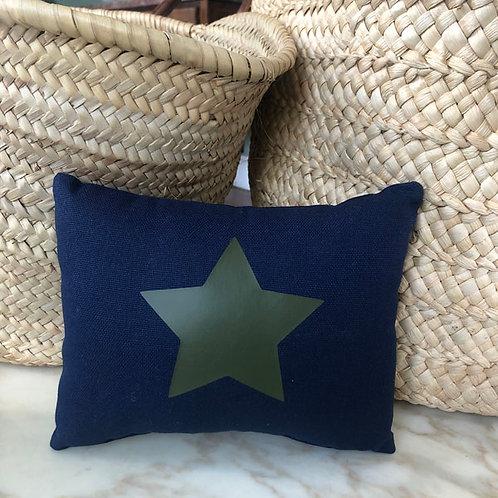 Navy & Khaki Star Mini Cushion
