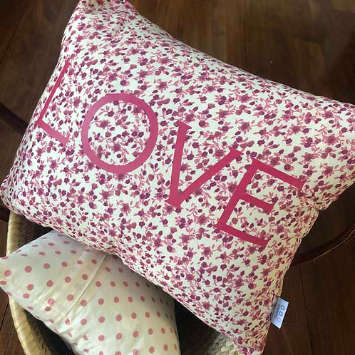 LOVE Old Pink Flowers Cushion