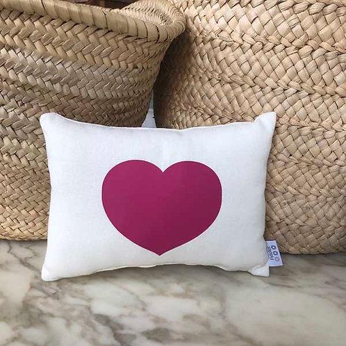 White & Pink Heart Mini Cushion