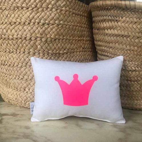 White & Neon Pink Crown  Mini Cushion