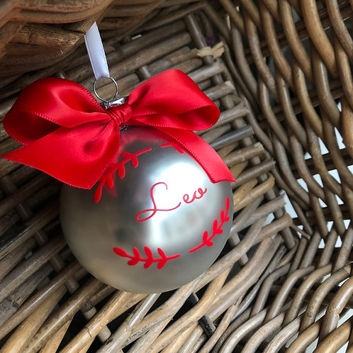 Personalised MATT SILVER Glass Christmas Baubles