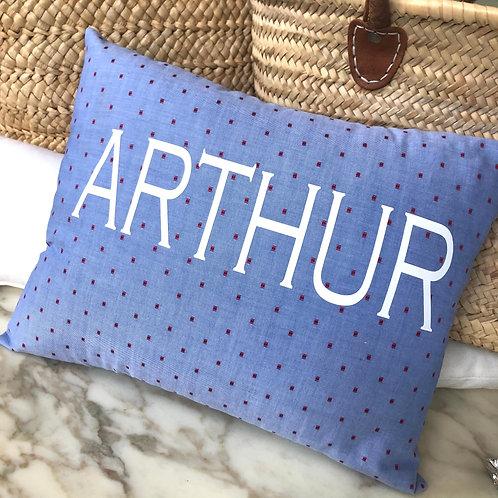 Personalised Blue Dotty Cushion