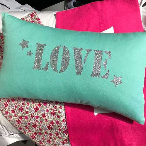 Turquoise Sparkle LOVE Cushion