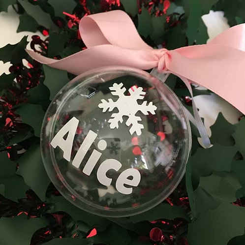 Personalised CLEAR Plastic Christmas Baubles