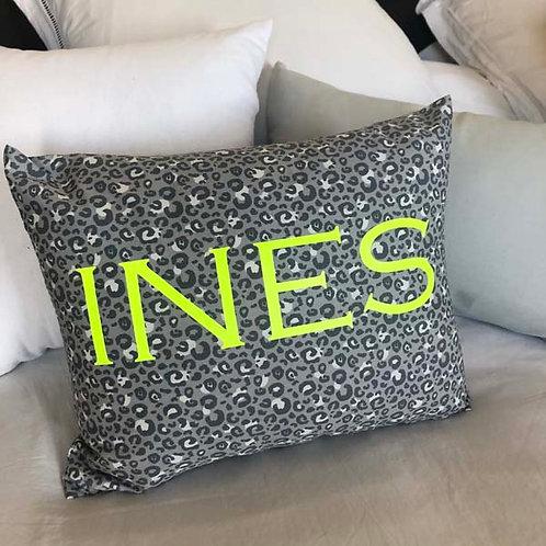 Personalised Grey Leopard Cushion