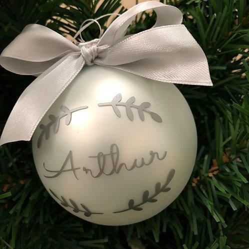 Personalised MATT WHITE Glass Christmas Baubles