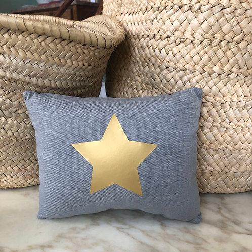 Grey & Gold Star Mini Cushion