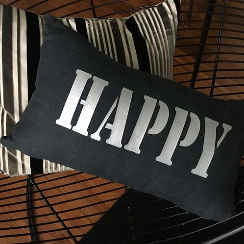 Black Linen and Silver HAPPY Cushion