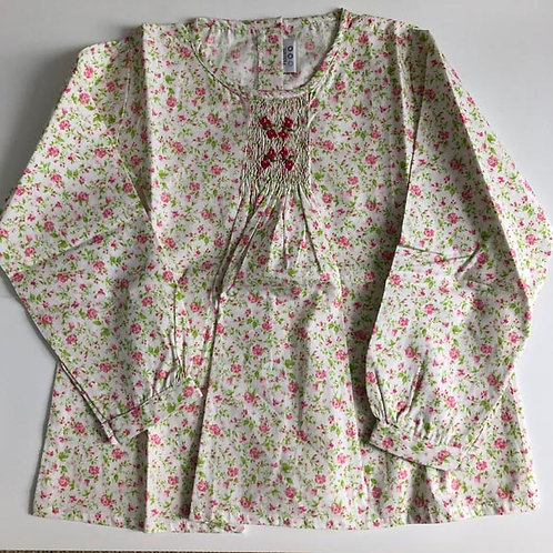 Pastels Floral Cotton smocked Blouse 6Y