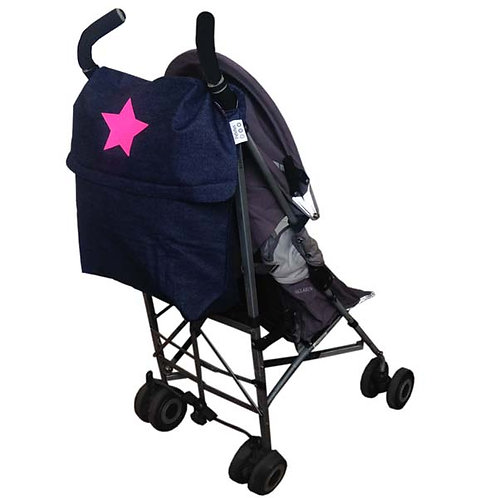 Blue Denim STROLLER BAG with Neon Pink Star