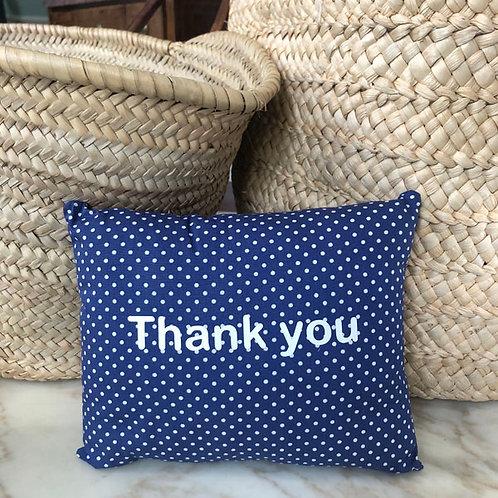 Blue Thank You Mini Cushion