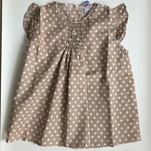 Beige Cotton Smocked Blouse 6Y