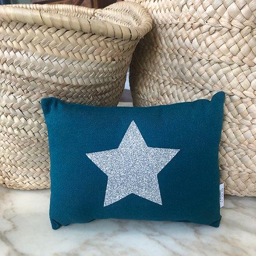Teal & Sparkle Silver Star Mini Cushion