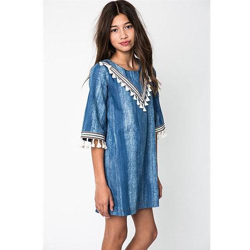 Denim Dress with Tassels 9-10Y