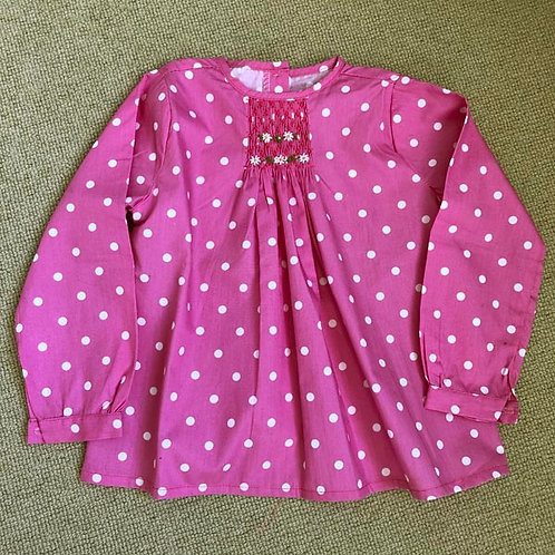 Pink dots Cotton smocked Blouse 3-6Y