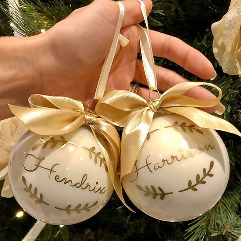 Personalised SHINY CREAM Glass Christmas Baubles