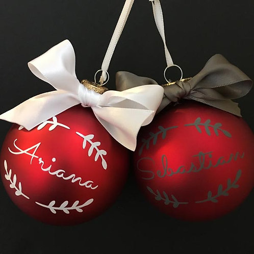Personalised MATT RED Glass Christmas Baubles