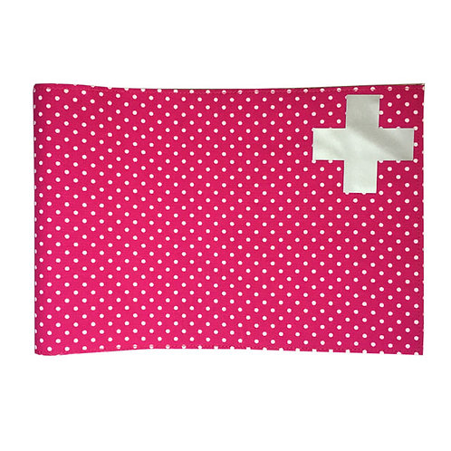 Health Book Cover - Pink dots & Silver cross