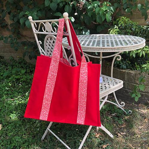 Red Canvas SHOPPER BAG