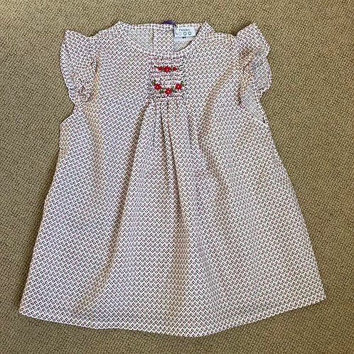 Geometric Cotton smocked Blouse 3-12 Y
