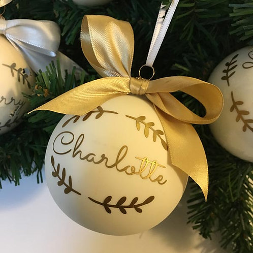 Personalised MATT CREAM Glass Christmas Baubles