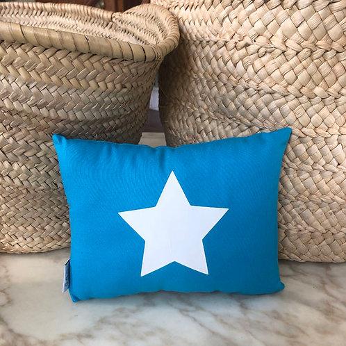 Turquoise & White Star Mini Cushion