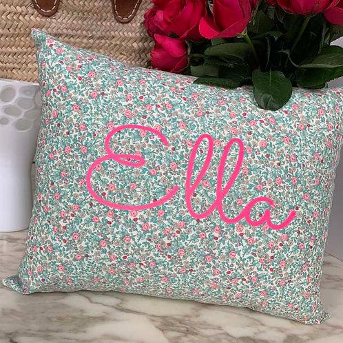 Personalised Turquoise Flowers Cushion