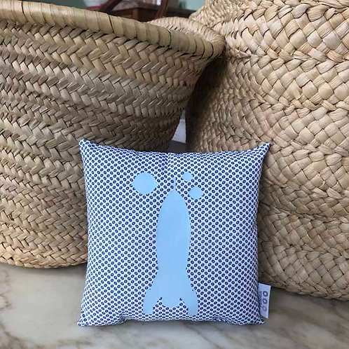 Blue Rocket Mini Cushion