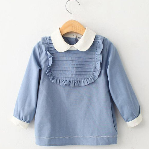 Cotton Blouse with contrasted collar 8Y