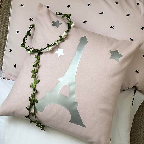 Powder pink & Silver EIFFEL TOWER Cushion