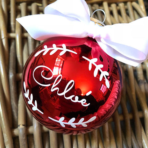 Personalised SHINY RED Glass Christmas Baubles